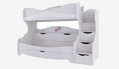 Двухъярусная кровать Акварель-1 с декором цветы