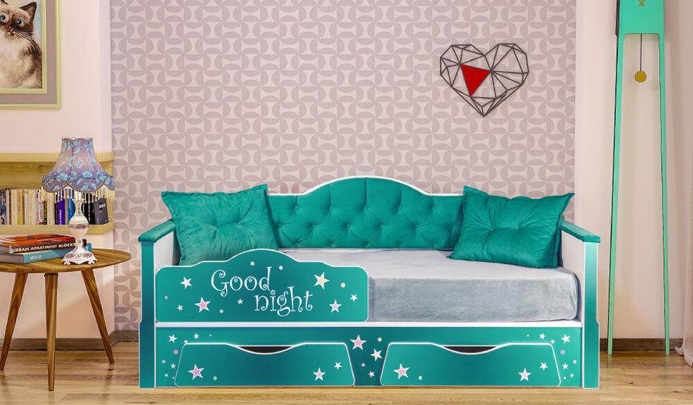 Детская кровать Ноктюрн. Белый/Берген азур