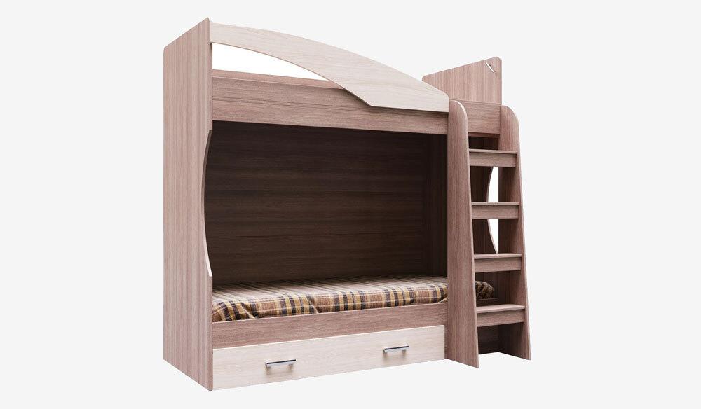 Двухъярусная кровать Город с ящиком