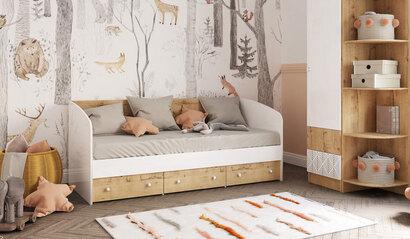 Кровать Алёнка. Белый глянец