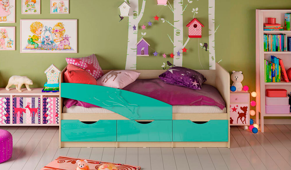 Детская кровать Дельфин. Глянец бирюза 1.6