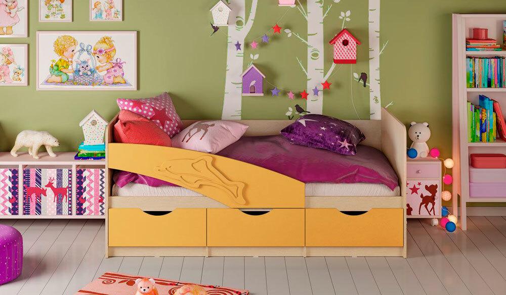 Детская кровать Дельфин. Жёлтый матовый 1.8