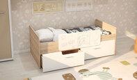 Детская кровать с бортиком и ящиками Умка