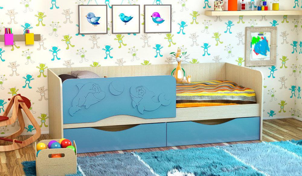 Детская кроватка Дельфин-2. Васильковый. 1.6 м