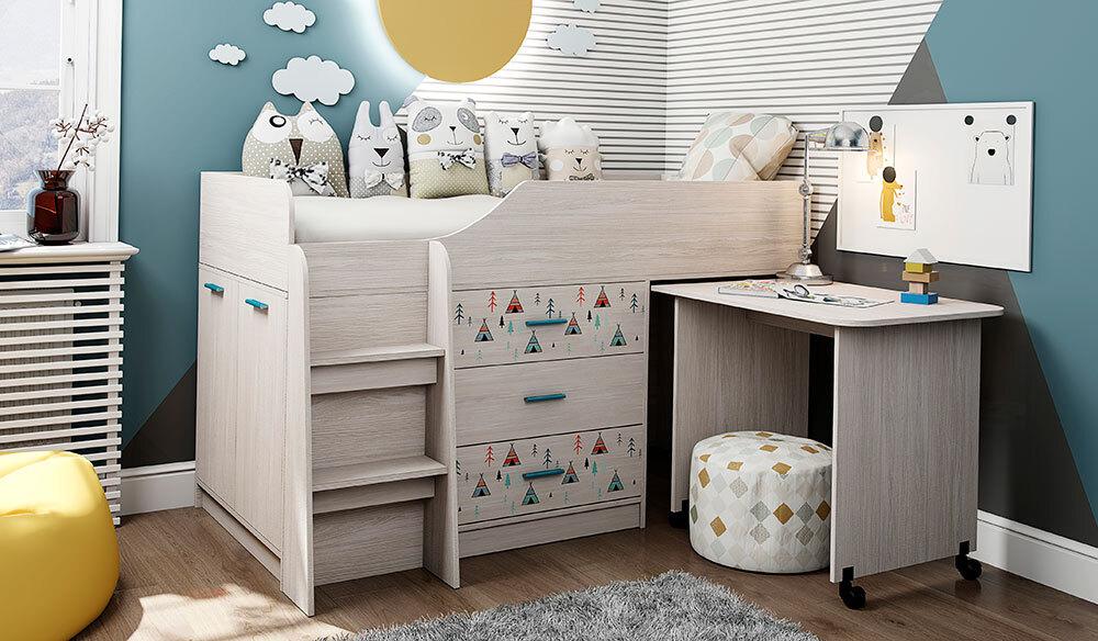 Кровать-чердак Каприз-5 с УФ-печатью