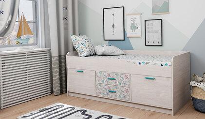 Кровать-чердак Каприз-19 с УФ-печатью