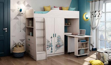 Кровать-чердак Каприз-9 с УФ-печатью