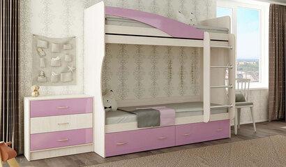 Кровать двухъярусная Буратино розовый