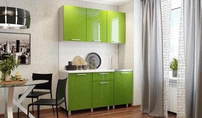 Кухонный гарнитур Блёстки олива 1.5 м
