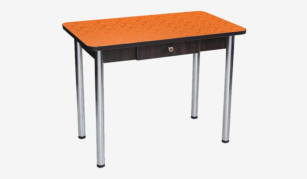 Стол Дачный с ящиком. Цветы оранжевые