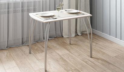 Стол обеденный №5 Ясень светлый/металлик