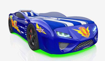 Детская кровать-машина Dreamer Молния голубая с подсветкой