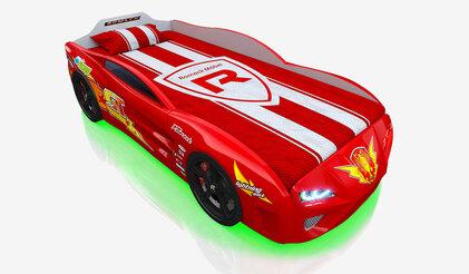 Детская кровать-машина Dreamer Молния красная с подсветкой