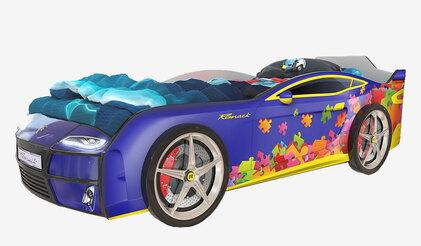 Детская кровать-машина Romack Kiddy синий пазл