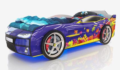Детская кровать-машина Romack Kiddy синий пазл с подсветкой