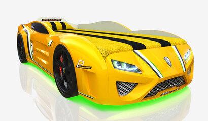 Кровать-машина Romack SportLine жёлтая с подсветкой