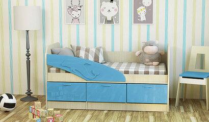 Детская кроватка Дельфин. Васильковый. 1.6 м