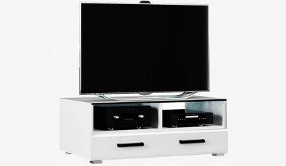 Тумба ТВ со стеклом Квадро. Белый глянец