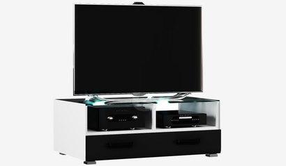 Тумба ТВ со стеклом Квадро. Чёрный глянец